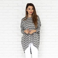 Angie Knit Sweater Top in Grey