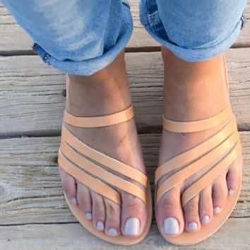 Female hot style sells sex appeal all - go with clip toe flat sandal
