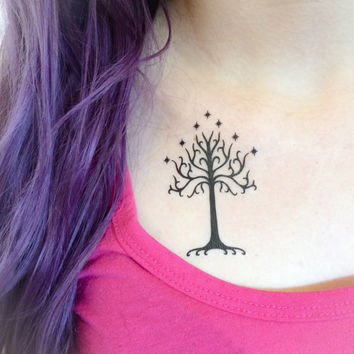 2 Tree of Gondor Temporary Tattoos- GeekTat - Stocking Stuffer