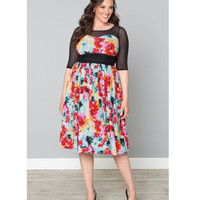 Plus Size Wild Watercolor Twirl & Swirl Swing Dress