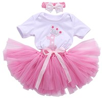 Kids clothing Baby Girls Clothing Sets suits Baby Girl Romper T Shirt Top+Headband+Skirt Tutu Skirt Outfit Sets