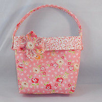 Little Girls' Pink Floral Purse With Detachable Fabric Flower Pin