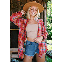 Summer Daydreamer Plaid Button-Up, Berry Combo   Free People