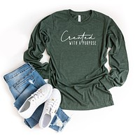Created With A Purpose | Long Sleeve Graphic Tee