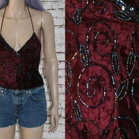 90s Halter Top Beaded Velvet Backless Ethnic India Festival Boho Gypsy Hipster Hippie Grunge Nu Goth Gothic Wine Red 70s Burgundy Crop