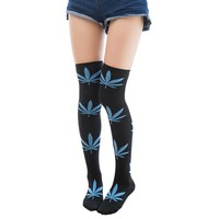 inDostyle calcetines Women girl Over the Knee harajuku weed maple leaf female stocking long tights High Thick  stocking 808041