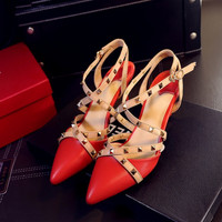 Summer Leather Pointed Toe Rivet With Heel Shoes [4919952708]