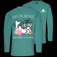 Southern Couture Love One Another Animal Comfort Colors Long Sleeve T-Shirt
