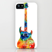 Colorful Electric Guitar 2 - Abstract Art By Sharon Cummings iPhone & iPod Case by Sharon Cummings