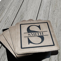 Personalized Light Leather Square Coaster Set of 4