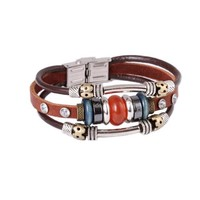 FASHION PLAZA Simulated Yellow/Orange Opal Bead Brown Leather Bracelet with Cubic Zirconia Rivets