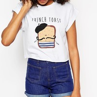 ASOS Cropped T-Shirt with French Toast Print