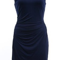 Laundry by Shelli Segal Ink Blot Blue Crystal Chain Link Necklace Jersey Sheath Dress
