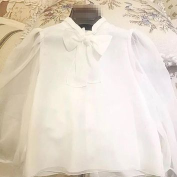 Baby Girl Shirt White Chiffon Children Clothing Spring Blouses Long Sleeve Tops Bow knot Kids Clothes for Girls