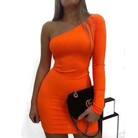Women Sexy One Shoulder Fashion Mini Dress