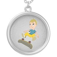Skateboarding boy cartoon necklace