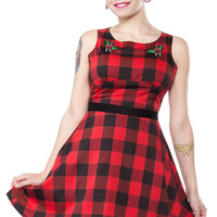 SOURPUSS FLOWER BUFFALO PLAID DRESS