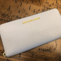 Michael Kors Baby blue Continental Leather Wallet