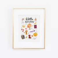 Hello Autumn, Fall Favorites, Fall Essentials, Hello Fall, Autumn Essentials, Pumpkin Spice Print, Fall Print, Autumn Print, Fall Decor