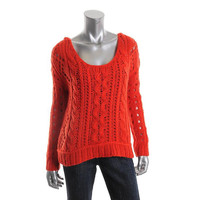 Free People Womens Cable Knit Scoop Neck Pullover Sweater