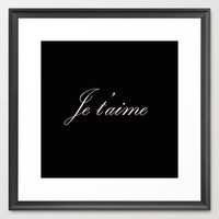 Typography Print - Canvas Art - Je T' Aime - Wall Decor - Typography Print - Black and Pink  - Typography Canvas - Paris - French Decor