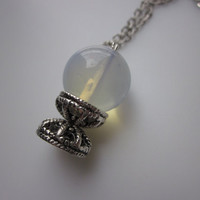 Moonstone Crystal Ball Necklace Witchcraft and by luckysparks