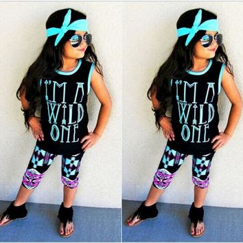 Boutique Toddler Kids Baby Girls Tops Shorts Pants Headbands Outfits Clothes US