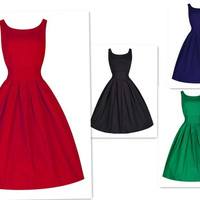 2015 new women's 1950's 50s pin up dress elegant solid simple full circle dress one piece party dress retro style = 1958428740