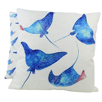 Stingray | Pillow Cover | 18 x 18 | Throw Pillow | Home Decor | Modern Coastal Decor | Nautical
