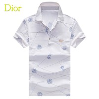 DIOR New Popular Men Women Embroidery Polo Shirt Top Tee
