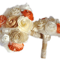 Gold, ivory, white, champagne and burnt orange Peony bouquet, Wedding bouquet, Paper Peony Bouquet, Toss bouquet, Shabby chic bouquet