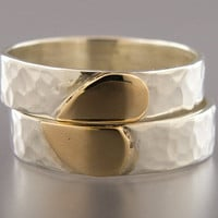 Heart Wedding Band Set in 14k Gold and Sterling by LichenAndLychee
