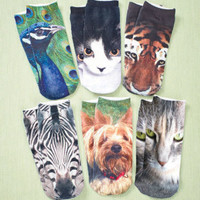 6-Pair Women's Photo Real Socks Animal Set Yorkie Dog Cats Zebra Tiger Peacock