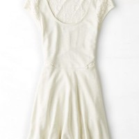 AEO Women's Shimmery Lace Inset Kate Dress (Cream)