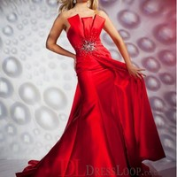 A-Line Strapless Satin Red Long Prom Dress/Evening Gowns With Beading VTC163