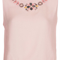 Embellished Neck Shell Top - Tops - Clothing - Topshop USA