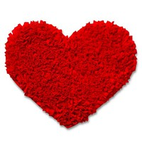 Valentine's Heart Shaped Shag Rug Red