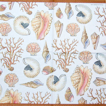 Decoupage Napkins - Ocean Beauties: Sea Shells and Coral Reefs, 4 Different Paper Napkins; Decoupage, Collage and Paper Craft Projects
