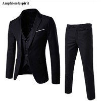 Amphion&spirit New Style Fashion Large Size Men's Business Three Pieces of Suits and Groom Wedding Dress Casual Men's Suit S-6XL