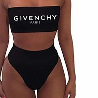 Moschino+FENDI+GIVENCHY+Dior+LV+Balenciaga+Gucci High Waisted Two Piece Bandeau Bikini