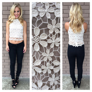 Cream Flower Crochet Crop Top
