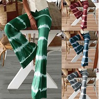 Hot style tie-dye striped stretch bell-bottom trousers for women