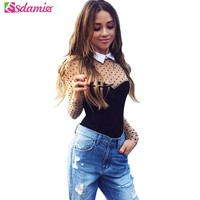 2017 Sexy Mesh Patchwork Bodysuit Top Black Fashion Dot Print Women Tops Turn Down Collar Long Sleeve Slim Body Suit Sexy Top