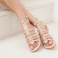 PILGRIM. Nude leather sandals  / flat shoes /  leather shoes / gladiator sandals / boho. Sizes 35-43. Available in different leather colors.
