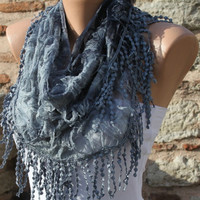 ON SALE - Gray Scarf -  Cowl with Lace Edge by Fatwoman