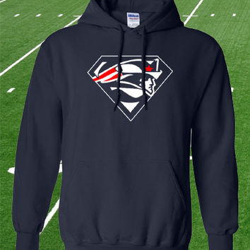 New England Patriots Superman Hoodie Hooded Sweatshirt