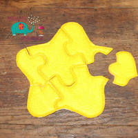 Felt star embroidered embroidery jigsaw puzzle learning toy activity quiet game kids toys montessori homeschool busy book