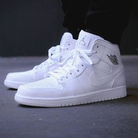 Nike Air Jordan Retro 1 High Tops Contrast Sports shoes Full White G-CSXY