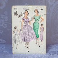 Weigel's Evening Dress Vintage Sewing Pattern Weigel's 1883, Size 16 Medium-Large 1950s Fitted Dress Dance Mother of the Bride