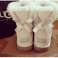 "Alwayn ""UGG"" Winter Trending Women Stylish Cute A Bowknot Wool Snow Boots White I/A"